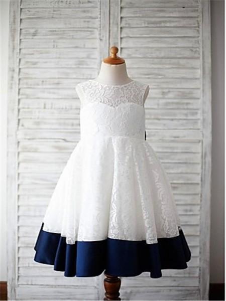 A-line/Princess Sleeveless Lace Floor-Length Bowknot Scoop Flower Girl Dresses