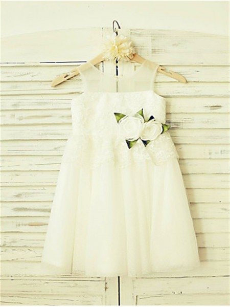 A-Line/Princess Tea-Length Hand-Made Flower Straps Sleeveless Tulle Flower Girl Dress