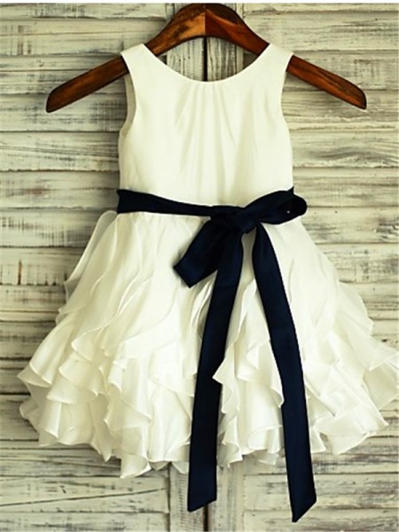 A-line/Princess Sleeveless Chiffon Tea-Length Bowknot Scoop Flower Girl Dresses