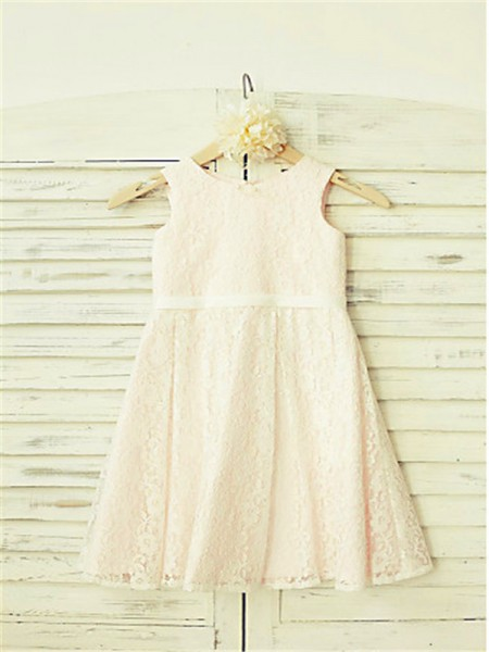 A-Line/Princess Tea-Length Lace Jewel Sleeveless Lace Flower Girl Dress