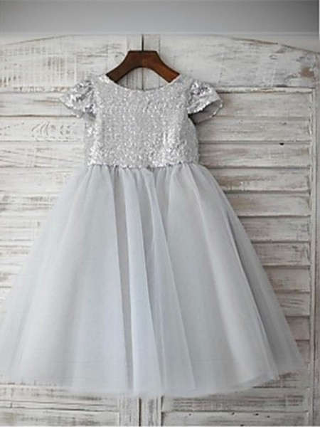 A-line/Princess Short Sleeves Tulle Tea-Length Sequin Scoop Flower Girl Dresses