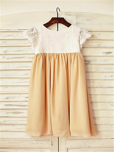 A-Line/Princess Tea-Length  Scoop Short Sleeves Chiffon Flower Girl Dress