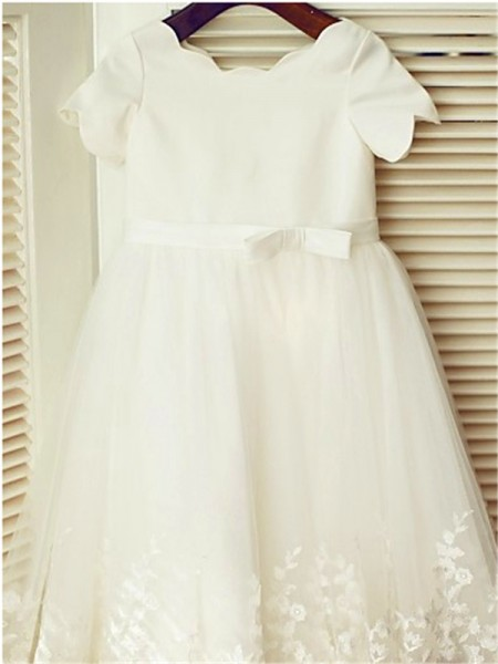 A-Line/Princess Tea-Length Lace Scoop Short Sleeves Lace Flower Girl Dress
