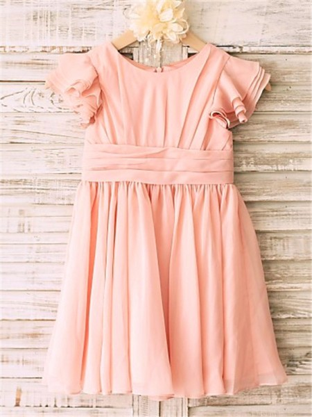 A-line/Princess Short Sleeves Tea-Length Scoop Flower Girl Dresses