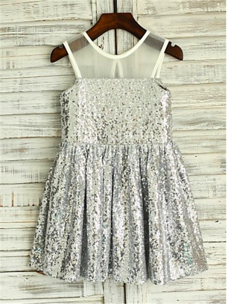A-line/Princess Sleeveless Sequins Tea-Length Sequin Scoop Flower Girl Dresses