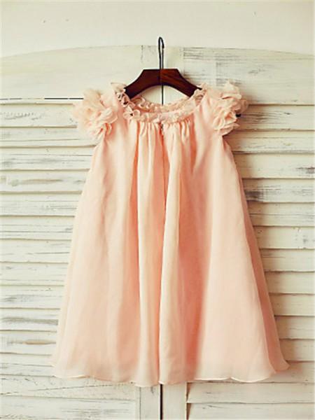 A-line/Princess Short Sleeves Chiffon Tea-Length Other Scoop Flower Girl Dresses