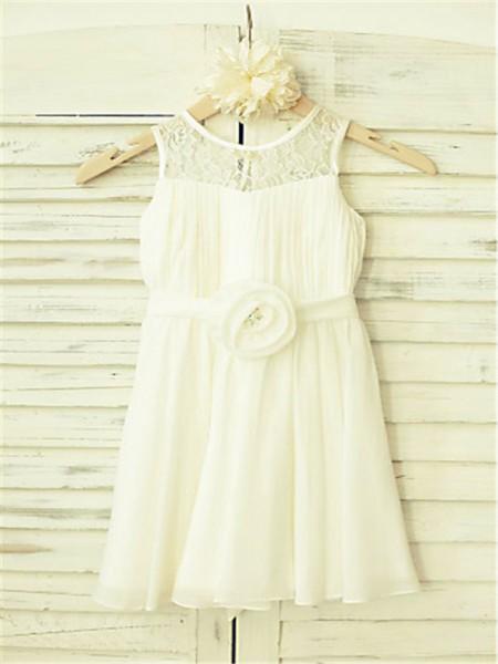 A-line/Princess Sleeveless Chiffon Tea-Length Hand-Made Flower Scoop Flower Girl Dresses