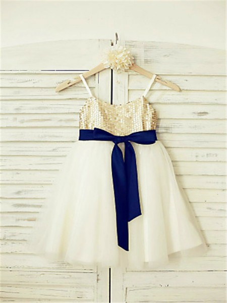 A-line/Princess Sleeveless Tulle Ankle-Length Sequin Spaghetti Straps Flower Girl Dresses