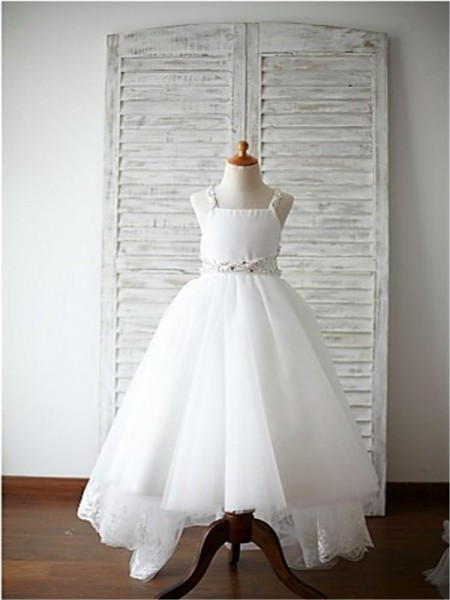 A-line/Princess Sleeveless Organza Sweep/Brush Train Beading Spaghetti Straps Flower Girl Dresses