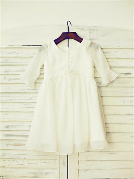 A-line/Princess Long Sleeves Chiffon Floor-Length Ruffles Scoop Flower Girl Dresses