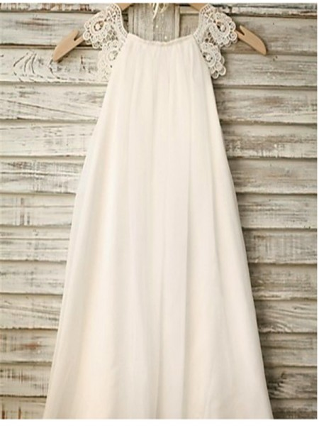 A-line/Princess Sleeveless Chiffon Ankle-Length Lace Scoop Flower Girl Dresses