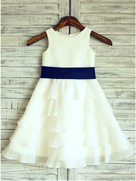 A-line/Princess Sleeveless Chiffon Tea-Length Ruffles Scoop Flower Girl Dresses