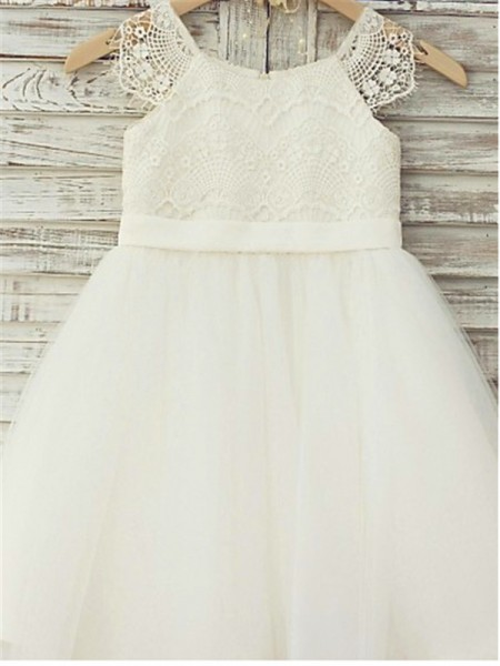 A-Line/Princess Knee-Length Lace Scoop Sleeveless Tulle Flower Girl Dress