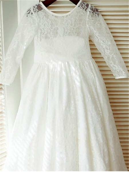 A-line/Princess Long Sleeves Lace Ankle-Length Bowknot Scoop Flower Girl Dresses