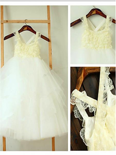 Ball Gown Sleeveless Tulle Tea-Length Layers Square Flower Girl Dresses
