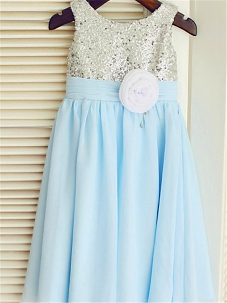 A-line/Princess Sleeveless Chiffon Tea-Length Sequin Scoop Flower Girl Dresses