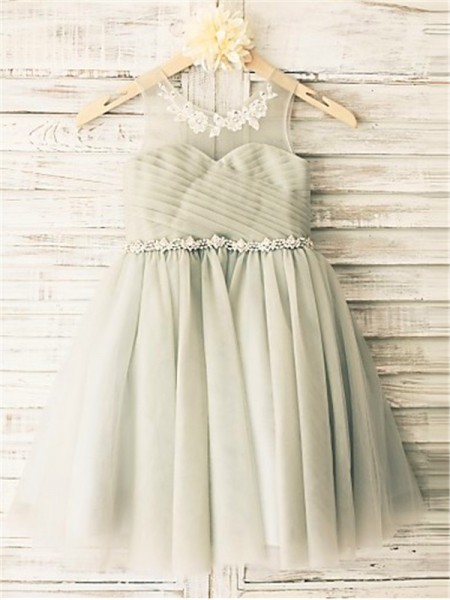 A-line/Princess Sleeveless Tulle Tea-Length Beading Scoop Flower Girl Dresses