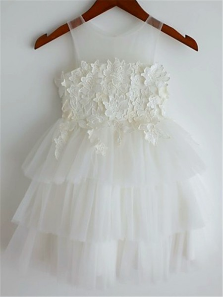A-line/Princess Sleeveless Tulle Tea-Length Lace Straps Flower Girl Dresses