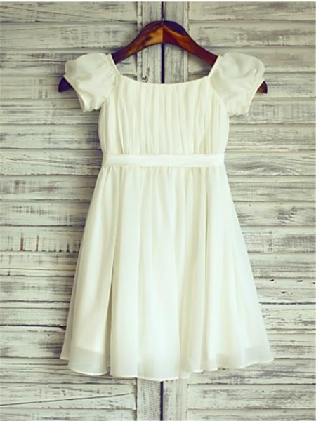 A-line/Princess Short Sleeves Chiffon Tea-Length Ruched Square Flower Girl Dresses