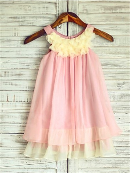 A-line/Princess Sleeveless Chiffon Tea-Length Ruched Straps Flower Girl Dresses