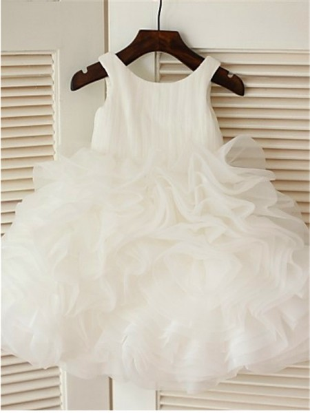 Ball Gown Sleeveless Organza Tea-Length Layers Scoop Flower Girl Dresses