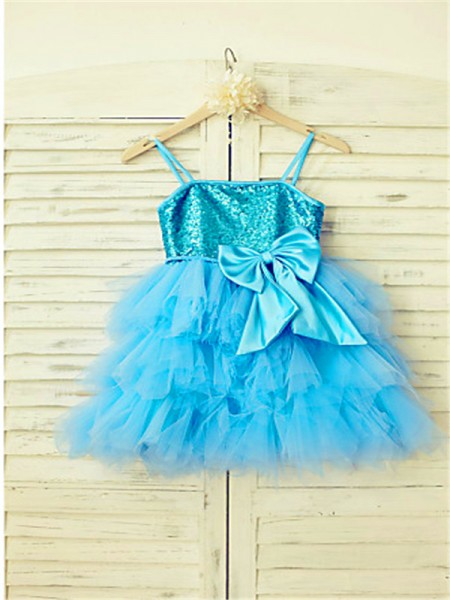 A-line/Princess Sleeveless Net Tea-Length Sequin Spaghetti Straps Flower Girl Dresses