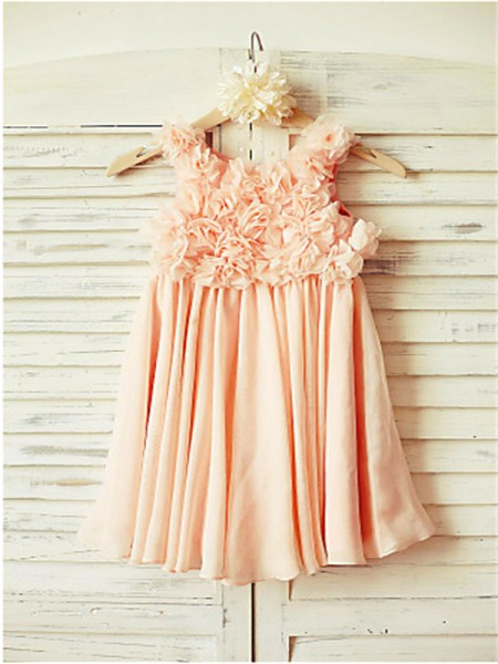 A-line/Princess Sleeveless Chiffon Tea-Length Ruched Straps Flower Girl Dresses
