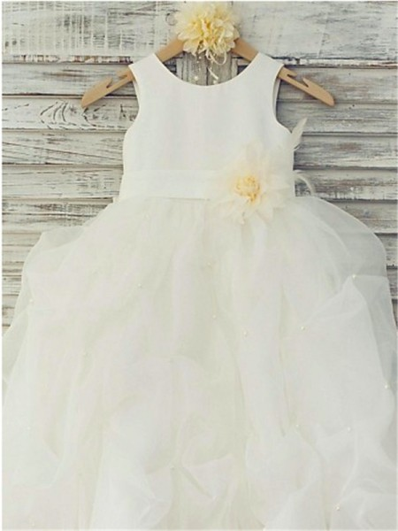 Ball Gown Sleeveless Organza Floor-Length Hand-Made Flower Scoop Flower Girl Dresses