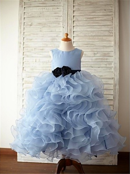 Ball Gown Sleeveless Organza Floor-Length Ruffles Scoop Flower Girl Dresses