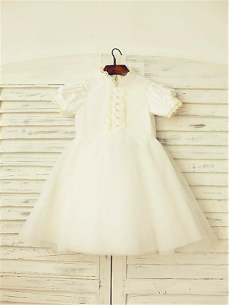 A-Line/Princess Tea-Length Lace High Neck Short Sleeves Tulle Flower Girl Dress
