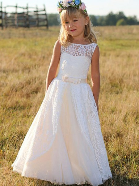 A-Line/Princess Sleeveless Scoop Floor-Length Sash/Ribbon/Belt Lace Flower Girl Dresses