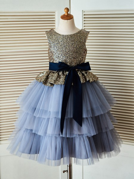 A-Line/Princess Scoop Tea-Length Sequin Sleeveless Tulle Flower Girl Dresses