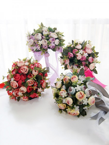 Blooming Free-Form Silk Flower Wedding Bouquets
