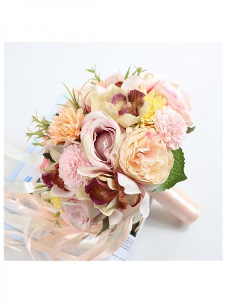 Elegant Bridal Bouquets Round Silk Flower