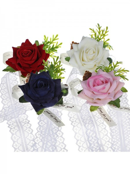 Fascinating Cloth Wrist Corsage Brooch Flower