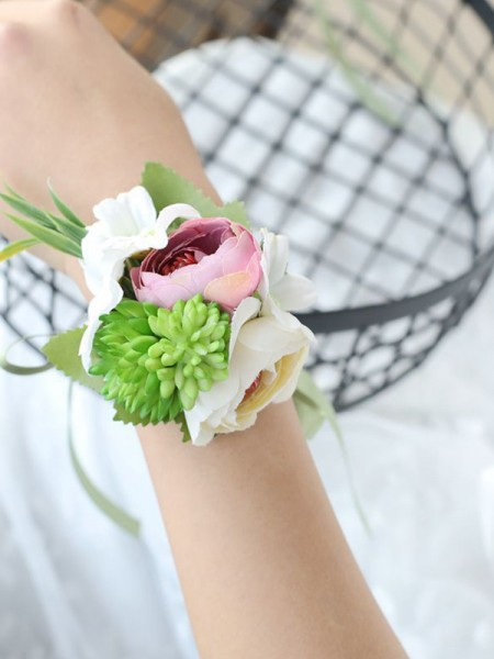 Graceful Wedding Flower Cloth Hand-tied Wrist Corsage