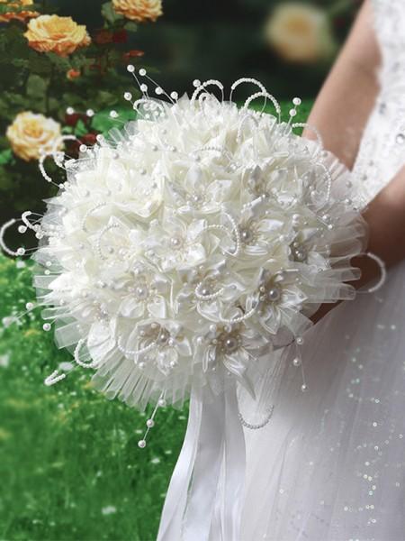 Bridal Wedding Bridesmaid Holding Flower Satin Pearl Bouquet