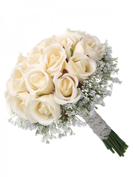Elegant Round Artificial Rose Flower Bridal Bouquets