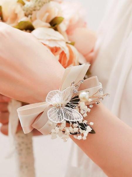 Fancy Imitation Pearl Wrist Corsage Wedding Supplies