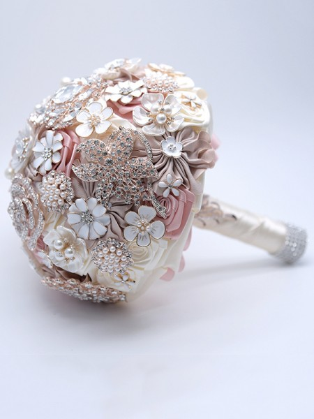 Delicate Round Satin Pink Bridal Bouquets