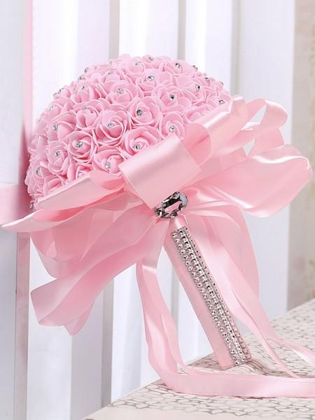 Round Satin Delicate Bridal Bouquets