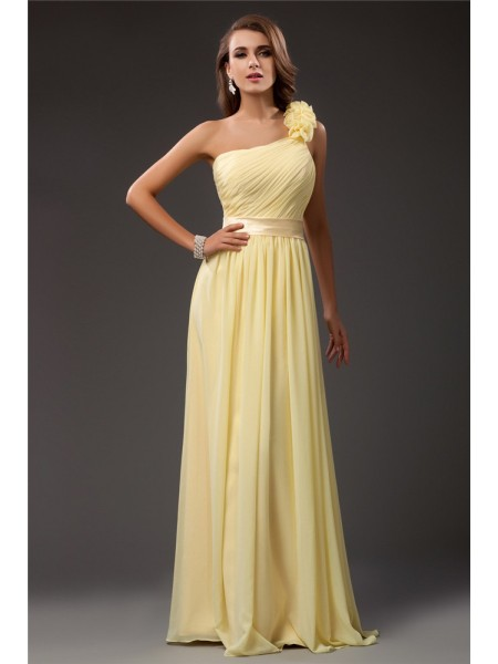 Sheath/Column Ruffles Chiffon Sleeveless Floor-Length One-Shoulder Dresses