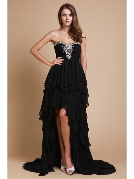 A-Line/Princess Beading Chiffon Sleeveless Floor-Length Sweetheart Dresses
