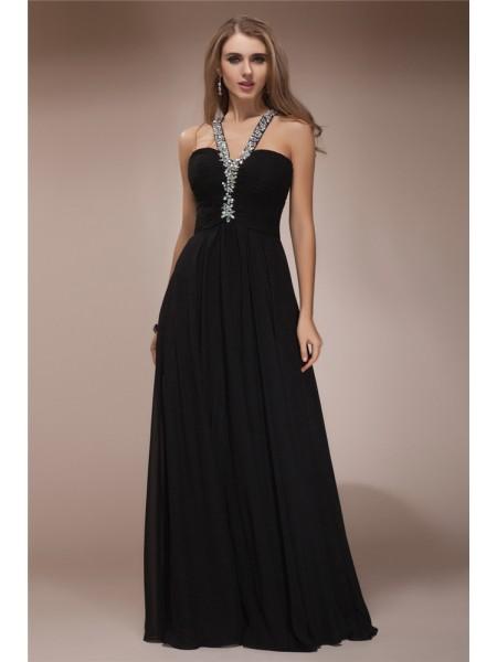 Sheath/Column Beading Chiffon Sleeveless Floor-Length Halter Dresses
