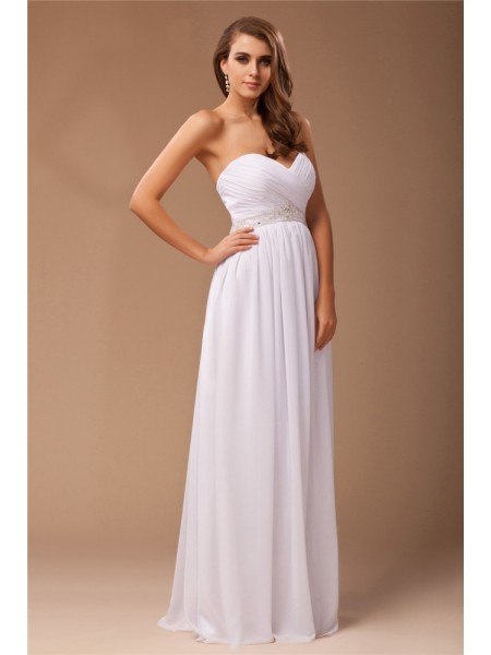 Sheath/Column Beading Chiffon Sleeveless Floor-Length Sweetheart Dresses
