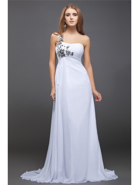 A-Line/Princess Lace Sequin Chiffon Sleeveless Sweep/Brush Train One-Shoulder Dresses