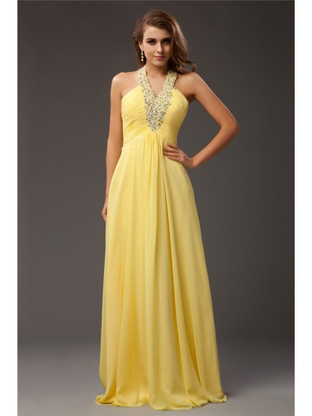 Sheath/Column Beading Chiffon Sleeveless Floor-Length Halter Dresses