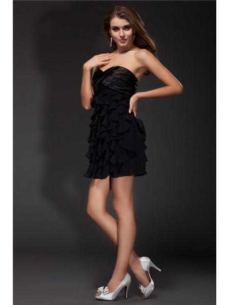Sheath/Column Ruffles Chiffon Elastic Woven Satin Sleeveless Short/Mini Sweetheart Short Cocktail Dresses