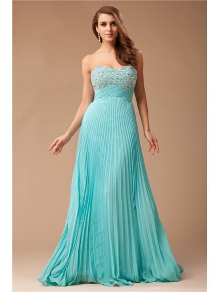 Empire Ruffles Beading Chiffon Sleeveless Floor-Length Sweetheart Dresses