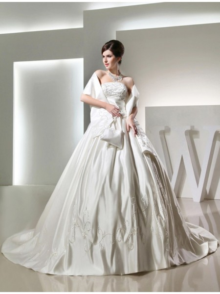 Ball Gown Beading Embroidery Satin Sleeveless Chapel Train Strapless Wedding Dresses